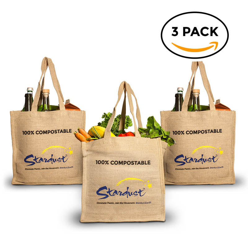 100 compostable jute shopping bag 3 pack stardust sustainables